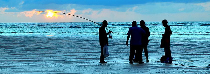 fishing, sunset, fisherman, sea, phuket, thailand, fishing Rod