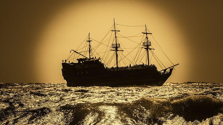 battleship, pirate ship, sailboat, warship, adventure, sea, nautical Vessel