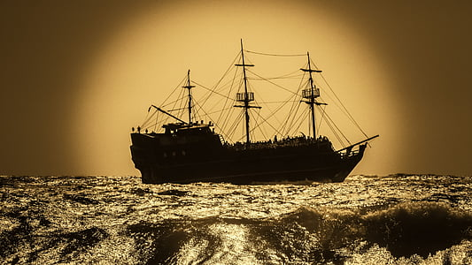 battleship, pirate ship, sailboat, warship, adventure, sea, nautical Vessel