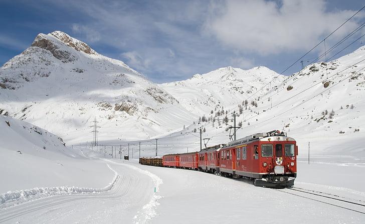 railway, bernina railway, lagalb, bernina, winter, train, electric locomotive
