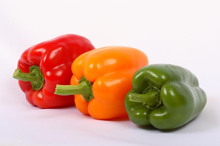 taimne, punane, paprika, paprika, kollane, roheline