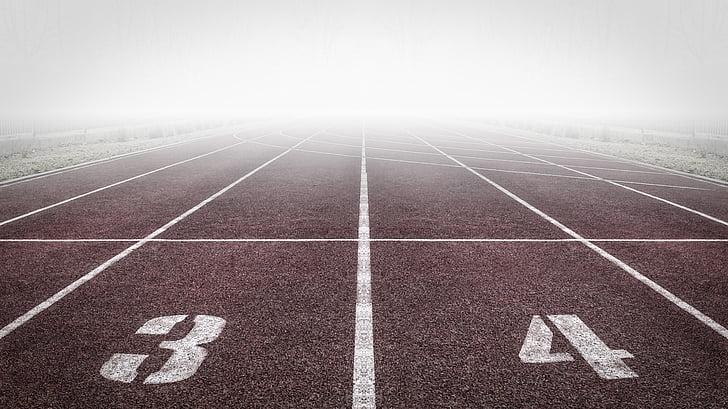 asfalt, gol, câmp, ceaţă, mai departe, scopul linie, teren