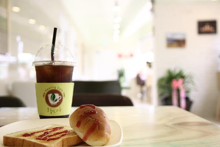 káva, chlieb, dezert, zelený deň, liečenie kaviareň