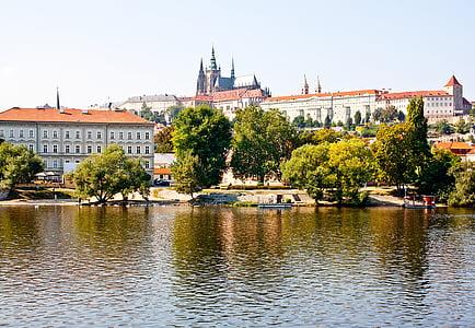 Praha, gamlebyen, elven, Europa, arkitektur, bybildet, berømte place