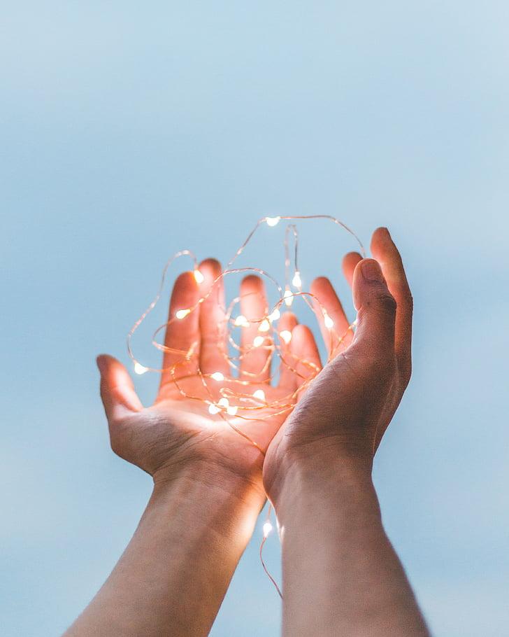 mains, Palm, chaîne, lumières, électricité, main de l'homme