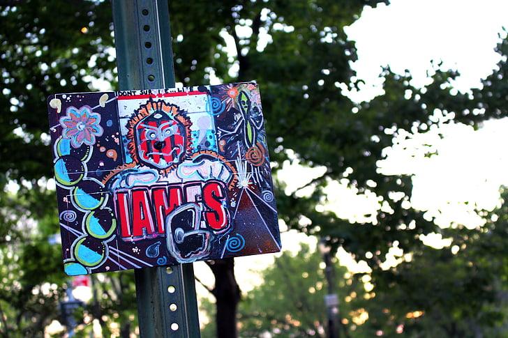 Graffiti, segno, tramonto, grunge, disegno, vernice spray, artistico