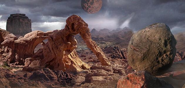 fantasia, paisatge, paisatge de fantasia, desert de, tempesta, brutícia, terreny