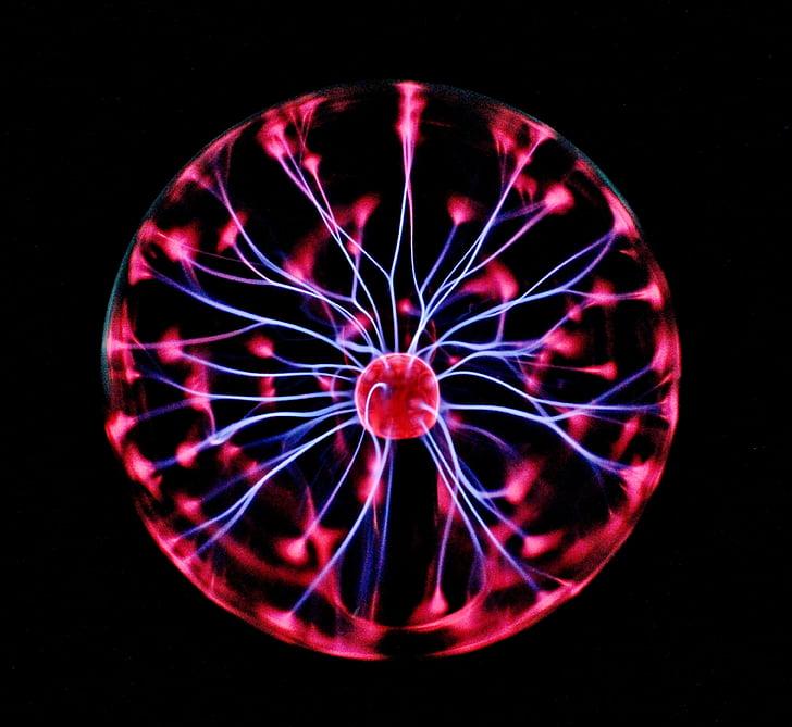 pilota de plasma, elèctric, electricitat estàtica, fosc, neó, llums, energia