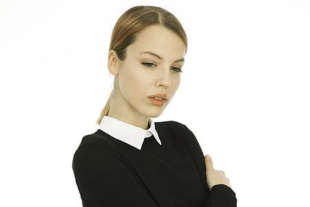 model de, bonica, Retrat, cara, sessió de moda, jove model, femení