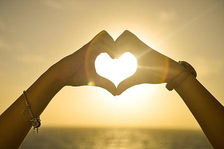 heart, sunset, hands, love, romantic, shape, sky