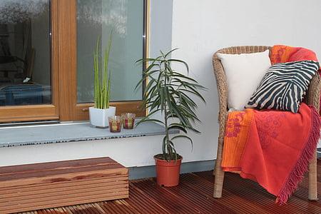cadira, seient, terrassa, peces de mobiliari, coixí, acollidor, relaxació