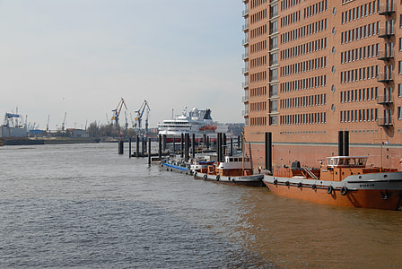Hamburg, bağlantı noktası, Elbe, Kuzey Almanya, gemi, yolcu gemisi, su