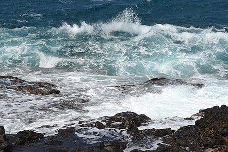 Mar, ona, navegar per, blau, oceà, Costa, natura