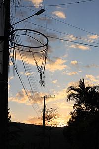 košara, zjutraj, nebo, oblaki, na prostem, scensko, mirno
