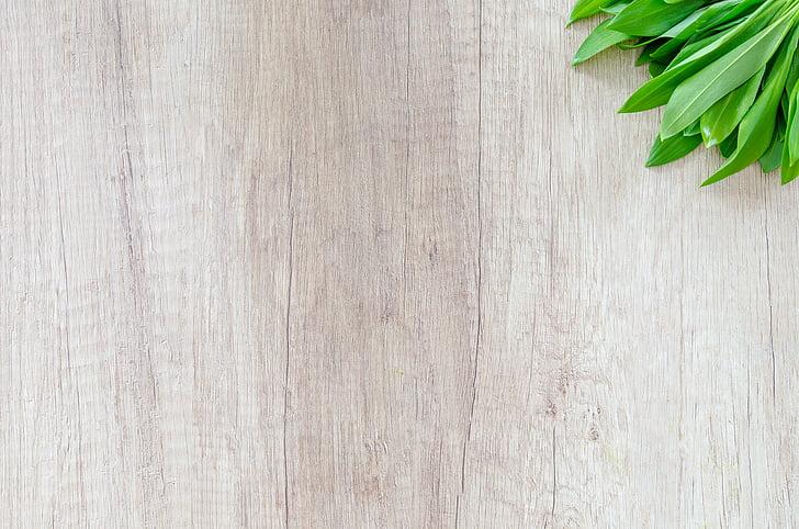 dřevo, tabulka, bylina, česnek, jídlo, zelená, koření