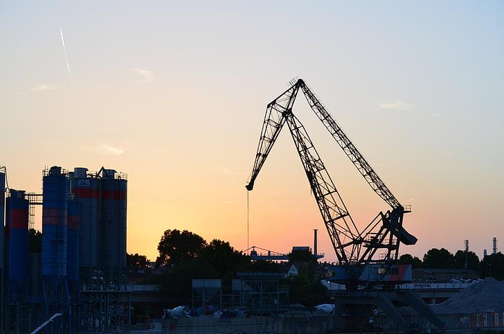 indústria, plantas industriais, Ludwigshafen, guindaste, pôr do sol, perspectivas
