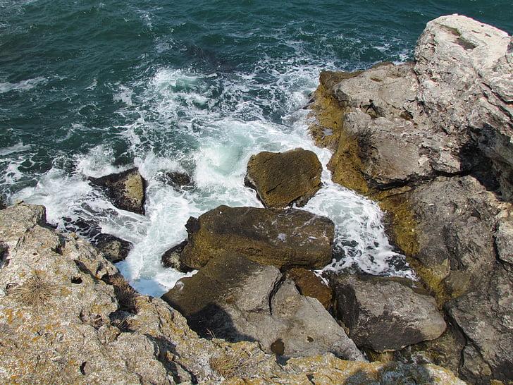 Mar Negro, rocas, ondas, espuma del mar, silueta, mar, naturaleza