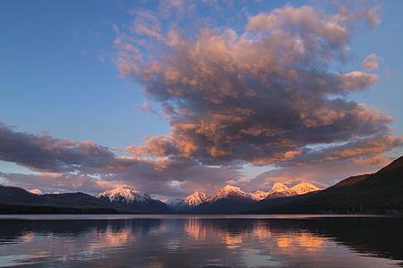 Llac mcdonald, paisatge, panoràmica, posta de sol, crepuscle, capvespre, nit