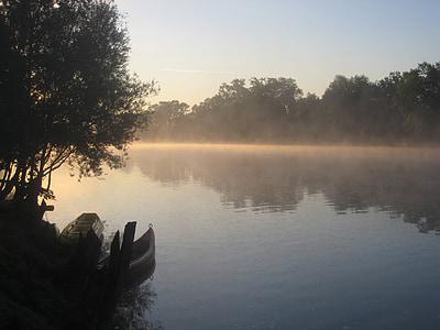 Річка, глибокий туман, ранок, човни, abendstimmung, купа, kolpa