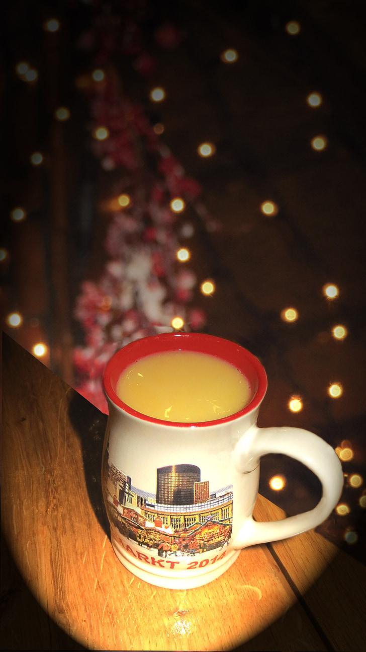蛋, 圣诞市场, 喝些热饮料, 研磨酒架, 杯, 灯, 受益于