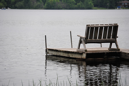 dock, lake, bench, water, calm, peaceful, vacation