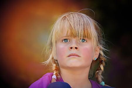 osoba, lidské, dítě, Děvče, Blondýna, obličej, portrét