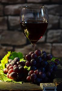 veini klaasi, viinamarjad, veini, punased viinamarjad, tagasi valgus, Natüürmort, Grapevine