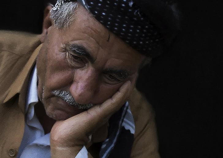 chân dung, người đàn ông, người, khoảnh khắc của nỗi buồn, mọi người, Buồn, thời điểm này