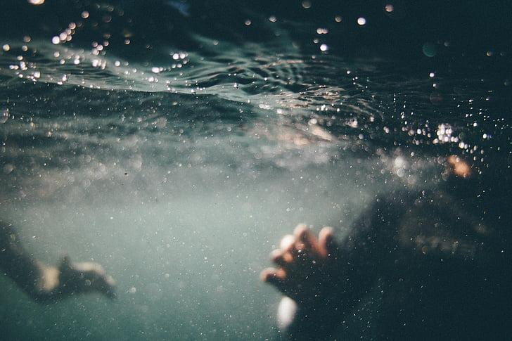 underwater, swimming, diving, water, splashing, waves, hand
