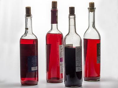 bodegons, ampolles, vi, vermell