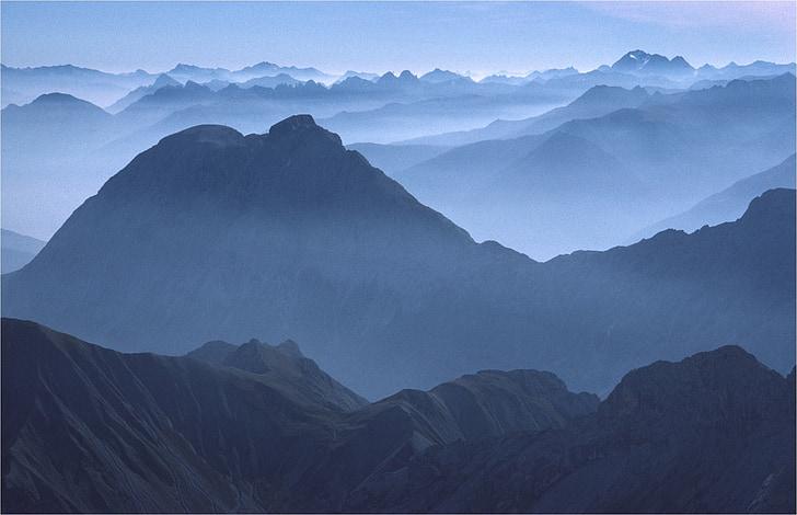 алпийски, настроение, далечен изглед, планини, панорама, Алпийска панорама, планински
