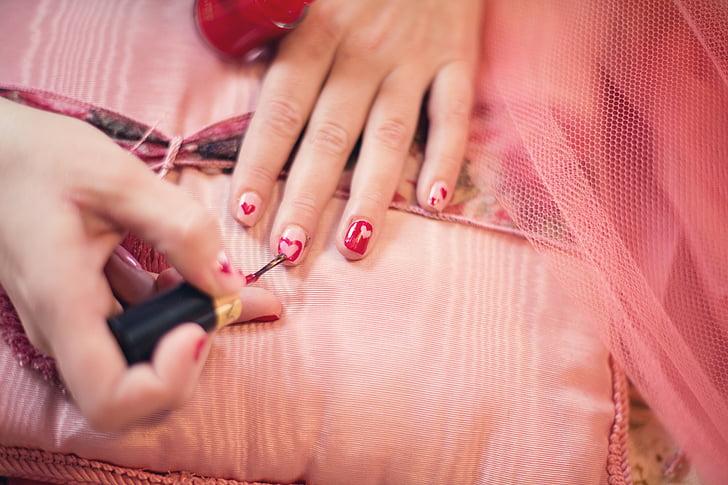 Malowanie paznokci, serca, Valentine, manicure, kobiety, paznokieć, mody