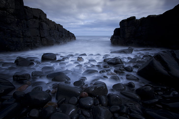 pedras, seixos, mar, longa exposição, oceano, praia, litoral
