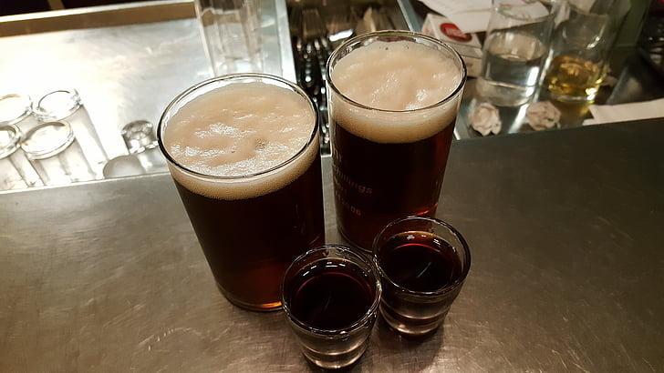 맥주, 브랜디, 알코올, 짧은, 인접, prost, 음료
