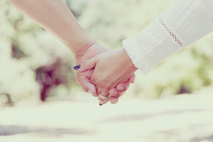 hender, Hold, holder hånden, folk, holde, kjærlighet, sammen