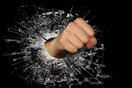 拳, 強度, 怒り, 涙, 風, 壊れた, 破壊