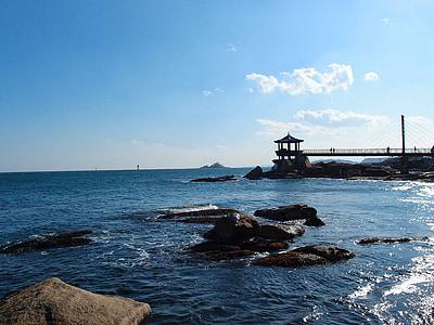 jūra, žiemą, Sokcho, žiemos jūra, Rokas, Gangwon ar, tiltas