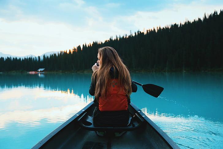 canoeing, girl, canoe, water, leisure, adventure, paddle