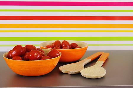 tomàquets, servidors d'amanida, verdures, bols, Sa, vitamines, aliments i begudes