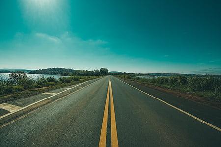 carretera, a prop, cos, l'aigua, diürna, natura, paisatge