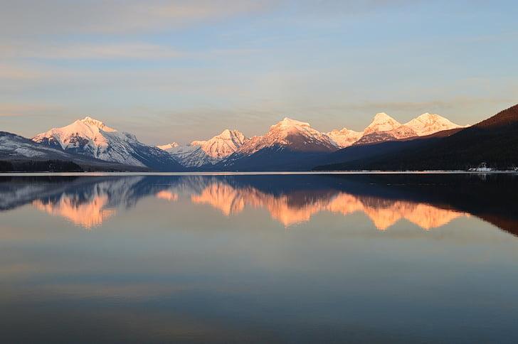 Llac mcdonald, paisatge, muntanyes, horitzó, pics, reflexió, l'aigua