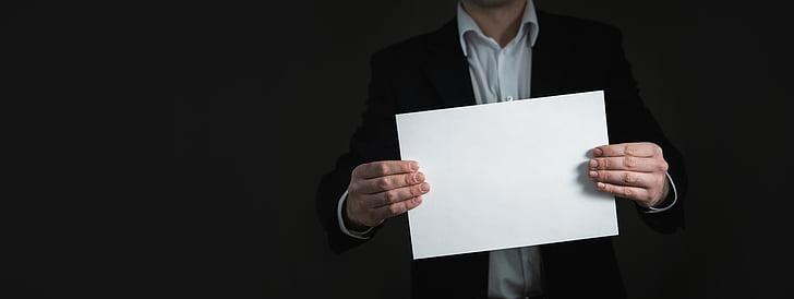 papir, hånd, banner, Business, kort, mann, holde