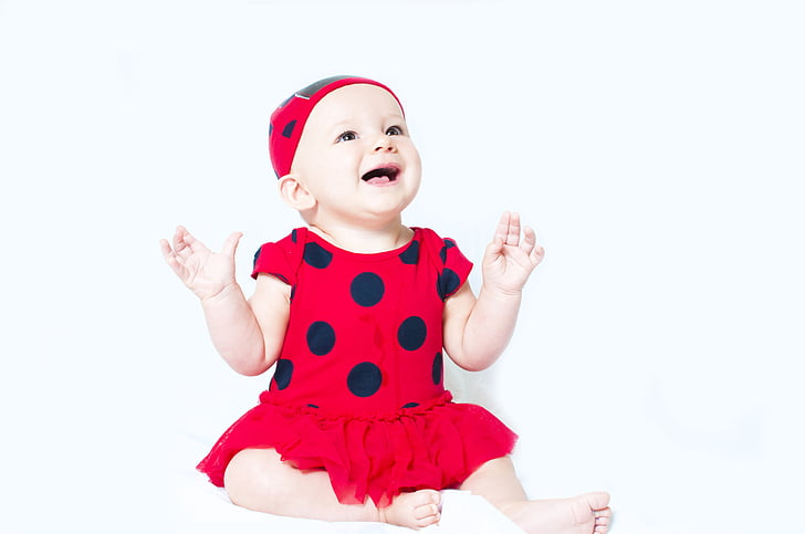 bērnu, portrets, bērnu, piemīlīgs, laimīgs, zīdainim, meitene