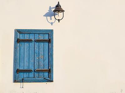 okno, niebieski, Lampa, ściana, biały, Architektura, tradycyjne