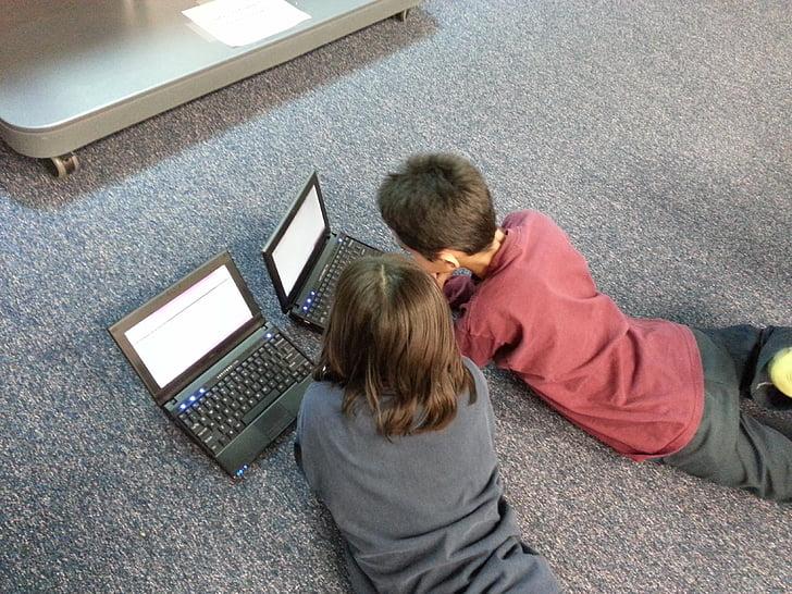 chlapec, dievča, deti, počítač, učenie, vzdelávanie, laptop