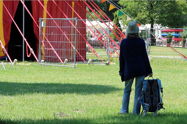 person, woman, individually, wait, look, circus tent
