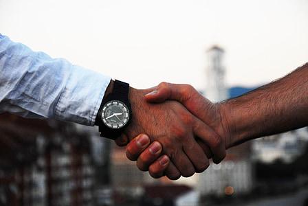 encaixada de mans, negoci, mà, acord, comunicació, contracte, cooperació