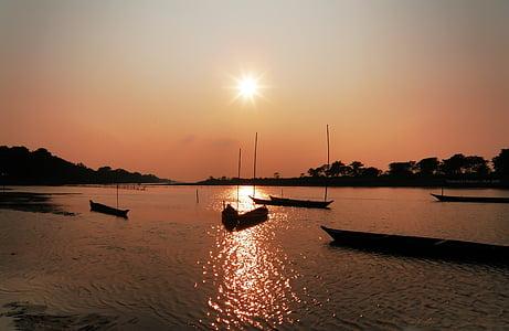 solnedgång, landskap, Assam, Indien, landskap, naturliga, nautiska fartyg