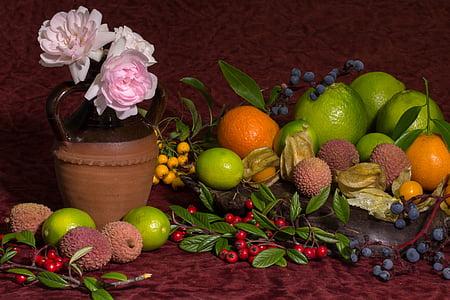 mrtva priroda, cvijeće, ruža, liči, ružičaste ruže, naranče, agrumi
