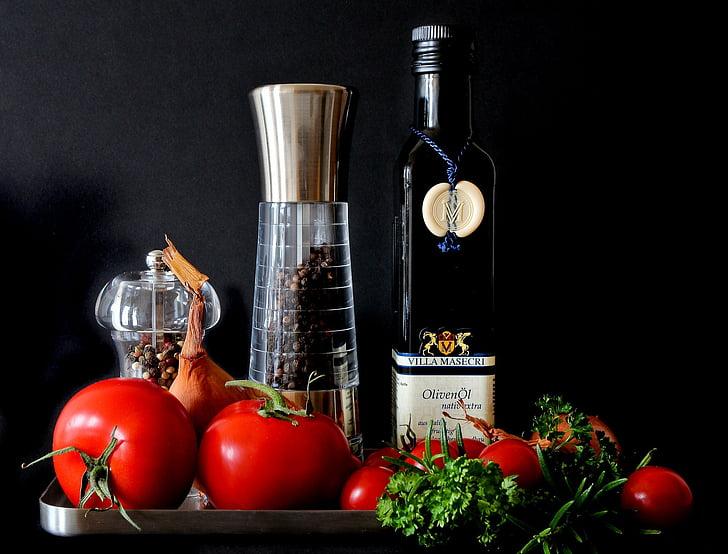 Vidusjūras reģiona, pārtika, tomāti, sarkana, ēst, pavārs, sastāvdaļas